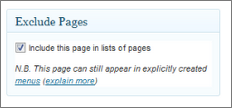 раздел  Exclude Pages